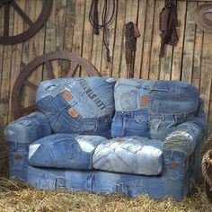 sofa of old jeans