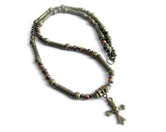 Mens stones beaded choker necklace men necklace crocodile