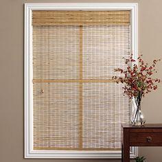 single piece brown tuscan bamboo 16 inch x 74 inch long roman shade curtain - Bamboo Roman Shades