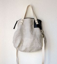 120 Aurelie Hobo Bag with Folded Top and Zipper Closure in Upholstery  European Natural Linen - 3e0e96999dd