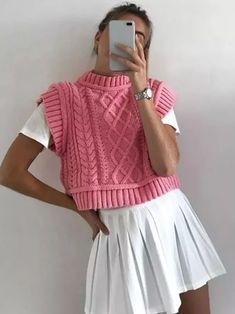 Pink Sweater Outfit, Cropped Sweater Outfit, Vest Outfits For Women, Pink Outfits, T Shirt, Sweaters, Knit Vest, Sweater Vests, Style