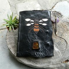 A4 Black Leather Journal with Bee and Copal Resin Detailing