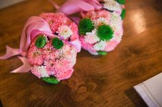 For the Love of Character: Wedding Week 2015: The Flowers - Pink and Green wedding flower girl flower balls by The Plaid Giraffe in Wichita, KS
