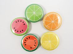 Fruit Slices Pin-back Button Badges by PixieBluebellDesigns