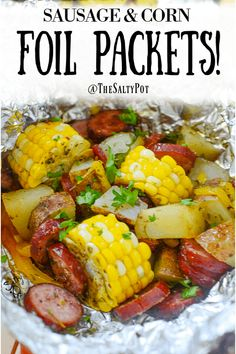 These sausage foil packets are bundles of deliciousness! Pieces of corn potatoes onions and of course sausage make dinner time a breeze - and with easy cleanup! Kielbasa And Potatoes, Smoke Sausage And Potatoes, Sausage Peppers And Onions, Foil Packet Dinners, Foil Pack Meals, Foil Dinners, Corn Recipes, Sausage Recipes, Venison Recipes