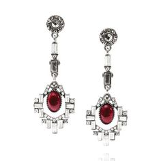 Café Society Statement Drop Earrings  Holiday and party style   Tuck your hair back + show off these sparkling + stunning burgundy drop earrings with their Art Deco sense of style + modern flourish of pavé crystals. Works just as great to elevate a daytime style as it does to finish an evening look.  semi-precious marbled black + white stone, red goldstone resin, black diamond, clear + hematite crystal