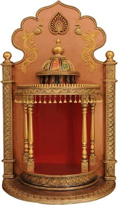 Traditional Handmade Wooden Temple with Decorative Dome And Miniature Artwork Wooden Temple For Home, Home Temple, Ganesh Chaturthi Decoration, Ganpati Decoration At Home, Mandir Design, Pooja Mandir, Ganapati Decoration, Pooja Room Door Design, Altar