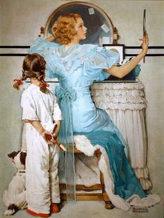 Woman at Vanity (Saturday Post October 1933) Norman Rockwell.