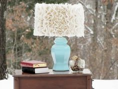 DIY spray painted lamp and burlap ruffles added to the shade.