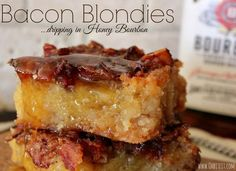 ~Bacon Blondies ….dripping in {optional} Honey Bourbon!   Oh Bite It