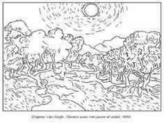 Van Gogh Oliviers avec ciel jaune et soleil
