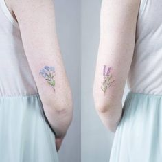 Matching forget-me-not and lavender tattoos on the back of the arms. Tattoo artist: Sol Tattoo