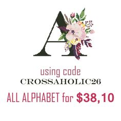 For those interested in buying all the floral monograms of the alphabet, I created a special coupon for the purchase of 26 letters at a price of 10! ❤🌸❤
