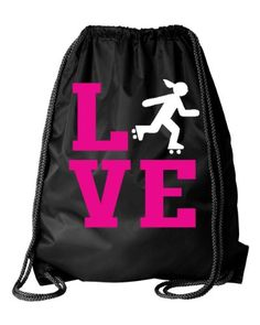 Black Skating Roller Derby Square Love Drawstring DuroCord Bag