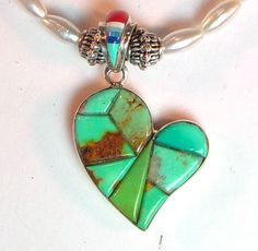 """18 1/2"""" necklace & earrings, micro inlay sterling reversible heart pendant focal"""