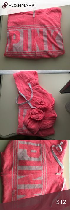 Pink (Hot Pink) Full Zip Hoodie I am selling a Pink (Hot Pink) Full Zip Hoodie. The zipper is white and has no issues with zipping fully closed or open. Worn once. It is light weight and comfortable. This one does size true to size. Pink dog will be free with Pink purchase (if there are any left). All clothing will be washed in a dye & fragrance free detergent along with being ironed before sent out. Feel free to leave any comments or questions, no trades please. Thank you 😊 PINK Victoria's…