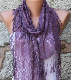 Purple  Shawl Scarf  Headband Necklace Cowl by fatwoman on Etsy, $17.00