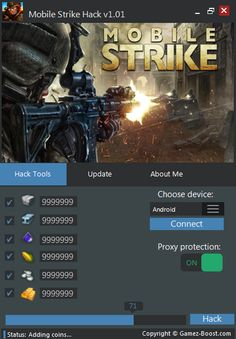 """DOWNLOAD - http://gamez-boost.com/mobile-strike-... Mobile Strike Hack Instruction  1. Connect your device to computer  2. Run Mobile Strike on your phone  3. Launch Mobile Strike Hack on your computer  4. Choose device operating system; Android, iOS or Windows Phone and click """"connect"""" 5. If your device is connect, you will see message at the bottom  6. Type which and how many resources do you need, check proxy protect option and click """"Hack """" 7. You will see the progress at the bottom, i"""