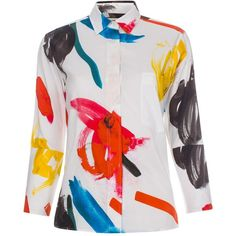 Paul Smith Women's Cotton-Cashmere Shirt With 'Painterly Floral' Print ($720) ❤ liked on Polyvore featuring tops, white floral shirt, panel shirt, paul smith, floral pattern shirt and white shirt