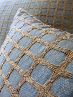 Blue Pillow Cover with Textured Square Pattern - 18in X 18in  Throw Pillow / Cushion Cover. $20.00, via Etsy.