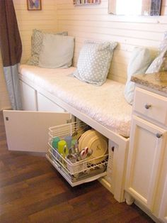 Tiny Appliances for Tight Spaces (They'll Make You Smile) Compact Appliances for Tight Spaces - a countertop dishwasher cleans up to six complete place settings Compact Appliances, Furniture, Tiny Spaces, Small Spaces, Home, Storage House, Tiny House Kitchen, Tiny Kitchen, Small Space Cabinet