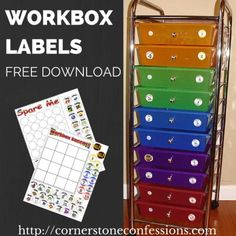 Workbox System Labels Free Printable Download--Great Homeschool Organization Idea