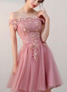 3f69e03af9 Elegant Pink Off Shoulder Knee Length Tulle Party Dress