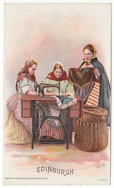 Victorian Trade Card for The Singer Mfg Co Sewing Machines Edinburgh