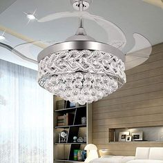 Buy RS Lighting The Crystal Ceiling Fan for Room Decoration inch Shrinkable Transparent Blades Fan and Chandelier With Remote and Lights-for Indoor Outdoor Living Dining Room Corridor (Silver) Caged Ceiling Fan, Silver Ceiling Fan, White Ceiling Fan, Ceiling Fans For Sale, Ceiling Fan With Remote, Ceiling Fan Chandelier, Ceiling Lights, Modern Chandelier, Chandeliers