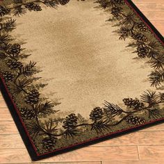 Delectably Yours Decor Pinecone Forest Border Lodge Rug 2x3, 2x8 runner, 4x6, 5x8 or 8x10