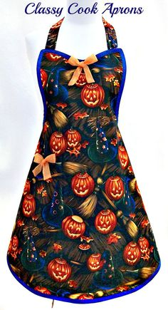 Your place to buy and sell all things handmade Halloween Apron, Halloween Tags, Halloween Stuff, Halloween Pumpkins, Halloween Decorations, Sewing Crafts, Sewing Projects, Sewing Ideas, Apron Designs