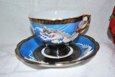 Teacup and saucer Dragonware blue cobalt by Dupasseaupresent