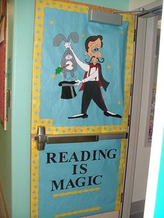 Reading is Magic Reading Bulletin Boards, Classroom Bulletin Boards, Classroom Door, Classroom Themes, Future Classroom, Magic Theme, Magic Party, Magic Decorations, School Decorations