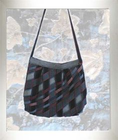 Recycled Jeans Diagonal Weave Bag by Tina Leahey