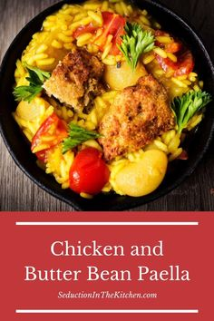 Are you looking for a chicken recipe? Chicken and Butter Bean Paella is a wonderful souther recipe from Chef Virginia Willis. This chicken paella is amazing with flavor. You love this butter bean recipe is wonderful to serve for dinner!   SeductionInTheKitchen.com #chickenrecipe #paella #butterbean