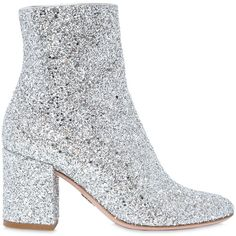 Oscar Tiye Women 80mm Nicole Glittered Ankle Boots (€490) ❤ liked on Polyvore featuring shoes, boots, ankle booties, heels, ankle boots, silver, short boots, heeled boots, glitter boots and short heel boots