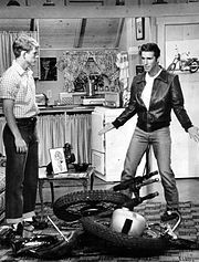 Richie and Fonzie view his destroyed motorcycle in his living room, 1976. Fonzie's apartment was over the Cunningham's garage.