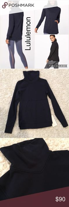 Lululemon Press pause pullover Navy blue size 2 Lululemon press pause pullover   Navy blue   Size 2   Smoke free pet free home.   NWT   Stock photos to show fit***  PRICE FIRM lululemon athletica Sweaters Cowl & Turtlenecks