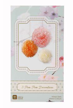 3er Pom Pom Set Pastel Mix bei www.party-princess.de