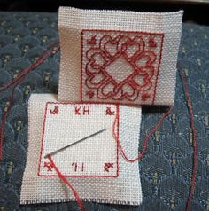 Yep, I did another mini biscornu, and this time I took some progress pics so I could write a tutorial on how to make the little critters! Biscornu Cross Stitch, Cross Stitch Cards, Needlepoint Stitches, Needlework, Cross Stitch Tutorial, Ornament Tutorial, Cross Stitch Finishing, Christmas Cross, Xmas