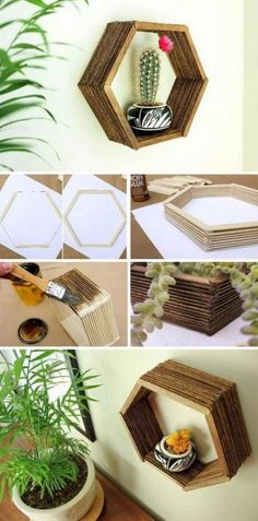 Brilliant DIY Shelves for Your Home DIY Popsicle Stick Hexagon Shelf. Never throw away the popsicle stickers and now you can make this inexpensive home decor knockout just with glue and some stain. Add a touch of mid-century charm to your home decor! Diy Para A Casa, Diy Casa, Diy Home Crafts, Craft Stick Crafts, Resin Crafts, Rope Crafts, Decor Crafts, Hexagon Shelves, Inexpensive Home Decor