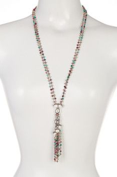 Sterling Silver Sapphire, 5-7mm Freshwater Pearl & White Topaz Tassel Necklace
