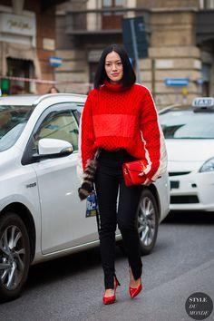 Tiffany Hsu wearing Preen by Thornton Bregazzi sweater, Miu Miu fur charm and shoes, J.W. Anderson bag before Giamba fashion show | Milan Fashion Week FW 2016 #StreetStyle