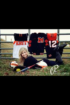 Sports uniforms and letter jacket for a girls senior pictures. Photo taken by #chasityporterphotography