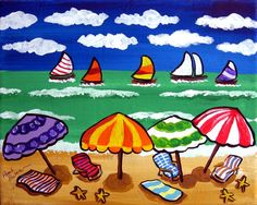 Whimsical Beach Scene Umbrellas Sailboats Fun by reniebritenbucher Art Drawings For Kids, Art For Kids, Kunst Party, Summer Painting, Parasols, Naive Art, Art Party, Beach Scenes, Art Lesson Plans