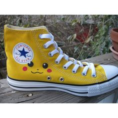 Pikachu Pokemon Converse Hand Painted Shoes Size 7 men/9 women (355 BRL) ❤ liked on Polyvore featuring shoes, converse, lullabies, yellow, converse footwear, high top shoes, yellow high tops, yellow shoes and converse high tops