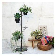 West Elm West Elm Prism Plant Stand, Antique Bronze - Brown - Pots &... ($100) ❤ liked on Polyvore featuring home, outdoors, outdoor decor and west elm
