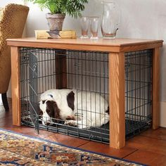 Wooden Table Dog Crate Cover | Malm Woodturnings