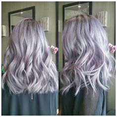 Silver Lavender hair. Try a purple and steel blue manic panic