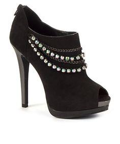 Black (Black) Kelly Brook Black Diamante Chain Peeptoe Shoe Boot Heels | 265739401 | New Look